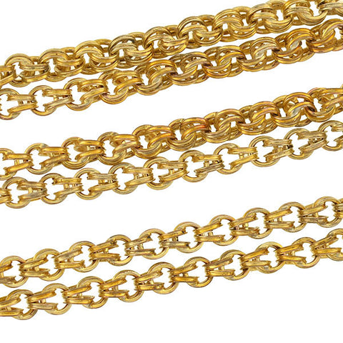 Victorian 10kt Double Link Handmade Chain Necklace 31""