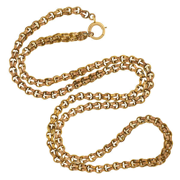 Victorian 10kt Double Split Ring Chain 23""