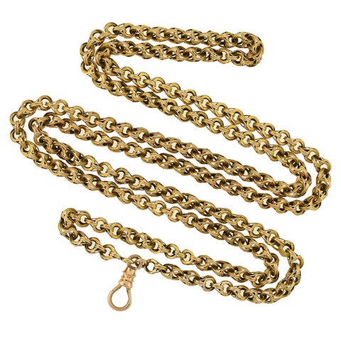 Victorian 14kt Textured Link Chain with Watch Clasp 33""
