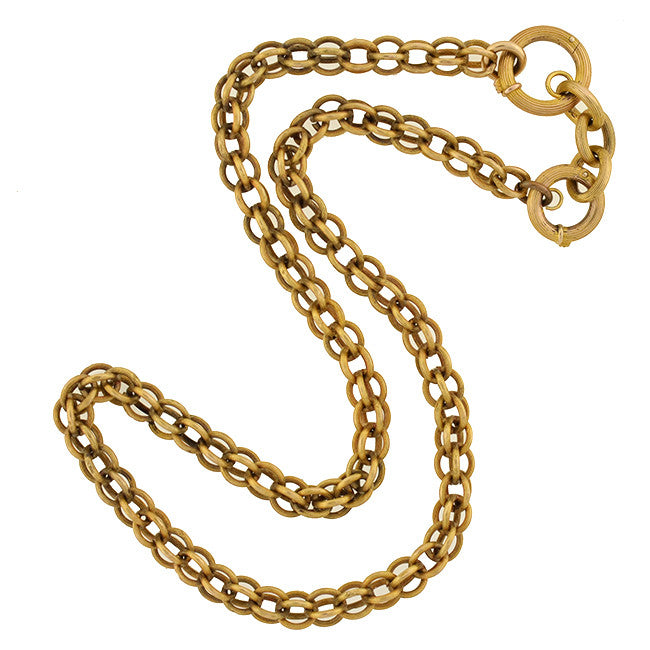 Victorian 15kt Textured Cage Link Chain 16.75""