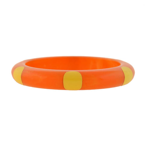 "Retro Bakelite Orange & Yellow ""6 DOT"" Bangle Bracelet"