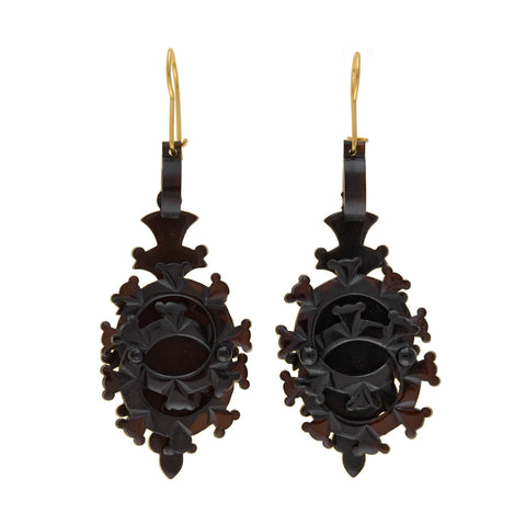 Victorian Large Carved Tortoise Shell Interlocking Circle Earrings
