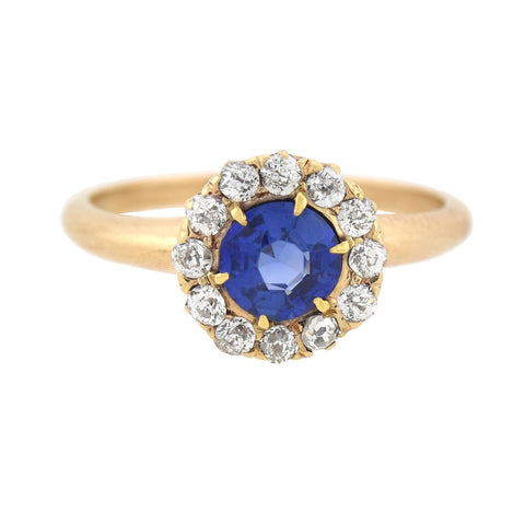 OSTBY & BARTON Late Victorian 14kt Ceylon Sapphire + Diamond Cluster Ring