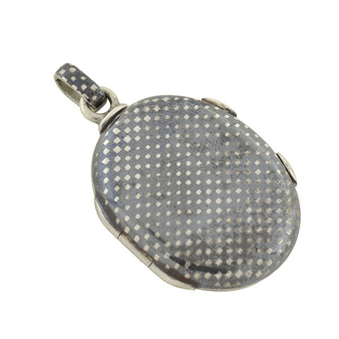 Victorian Petite Silver Niello Checkerboard Double-Sided Locket