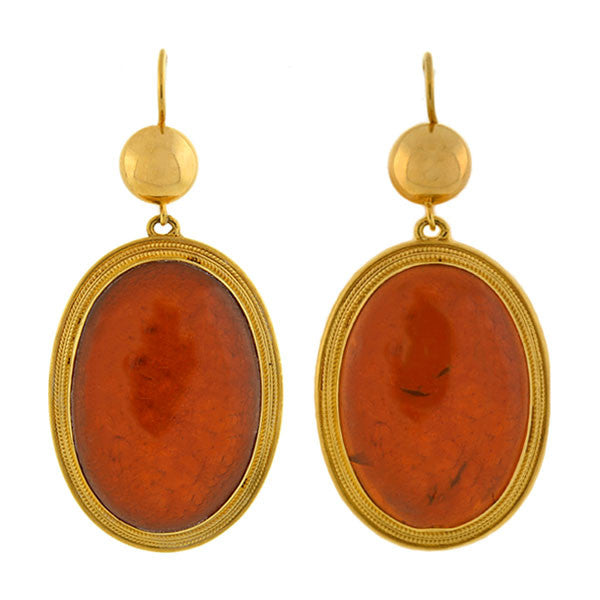 Victorian Large 18kt Natural Amber Earrings