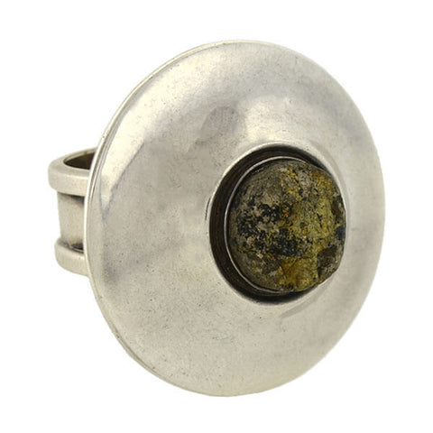 OWE JOHANSSON Modernist Scandinavian Huge Sterling Iron Pyrite Ring