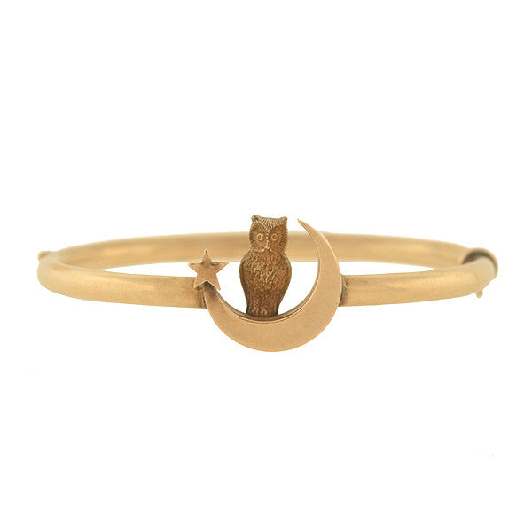 Victorian 14kt Hinged Owl, Moon & Star Bangle Bracelet