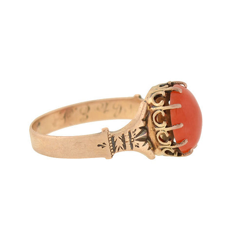 Victorian 14kt Natural Coral Ring