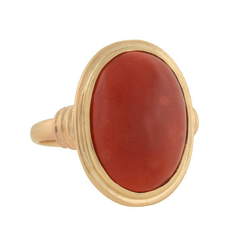 Early Retro 14kt Gold Cabochon Oxblood Coral Ring