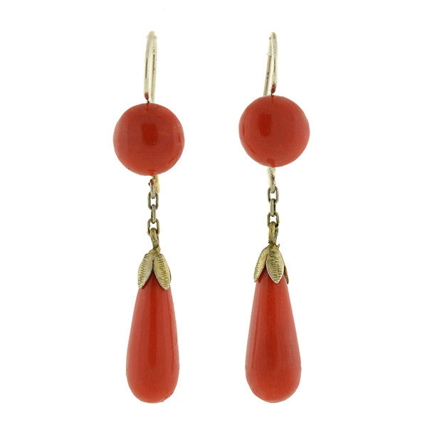 Art Deco Sterling & Oxblood Coral Teardrop Earrings