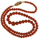 Edwardian Platinum/14kt Natural Oxblood Coral Bead Necklace 18.5