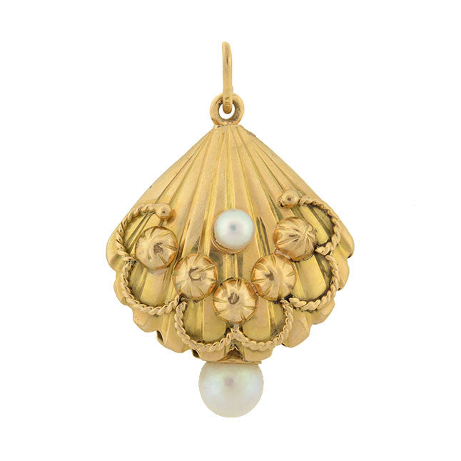 Vintage 18kt Gold Oyster Shell & Pearl Pendant