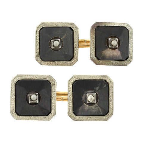 PARK ROGER Art Deco 10kt & Silver Black Mother of Pearl Cufflinks