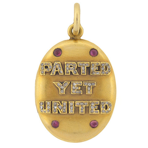 "Victorian 14kt Diamond & Ruby ""Parted Yet United"" Locket"