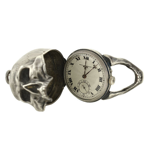 PAUL DITISHEIM Silver Montre Hamlet Large Skull Pocket Watch