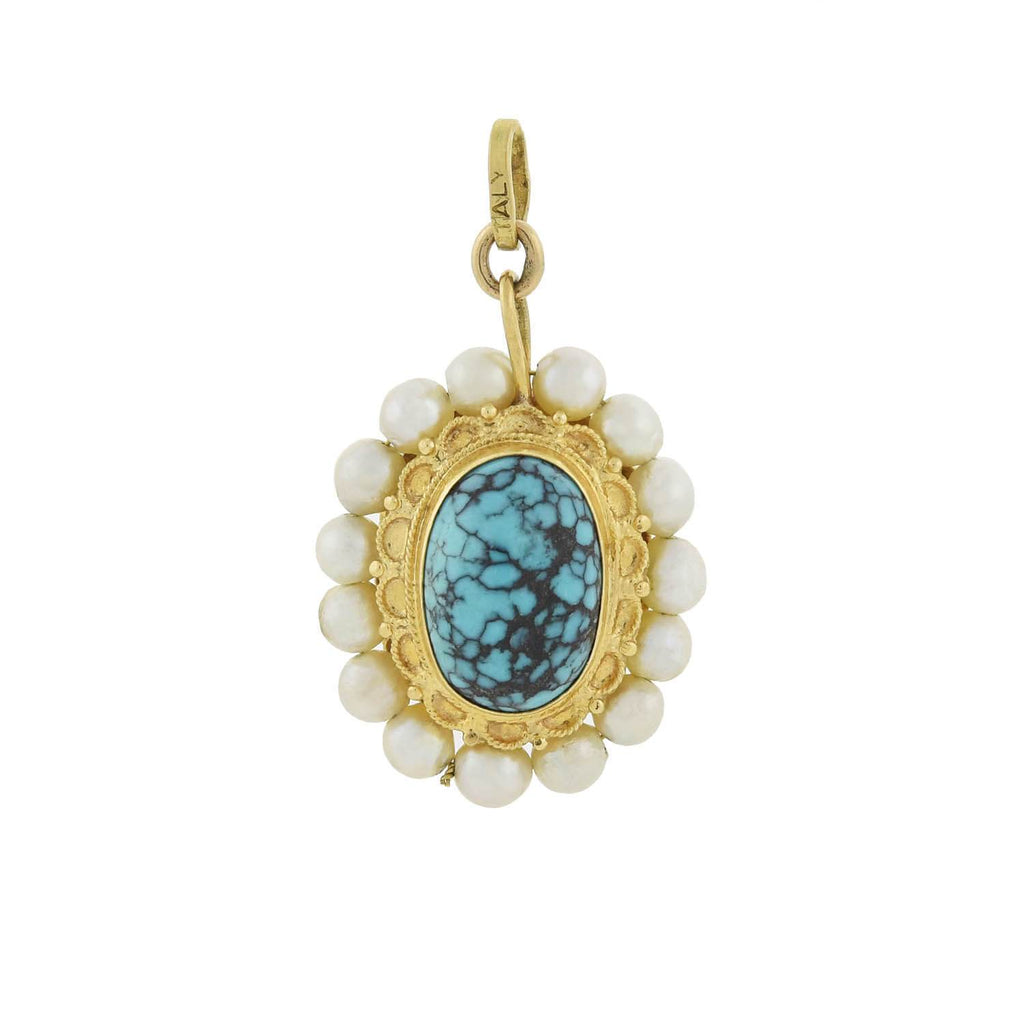 Vintage 18kt Large Turquoise + Pearl Double-Sided Pendant