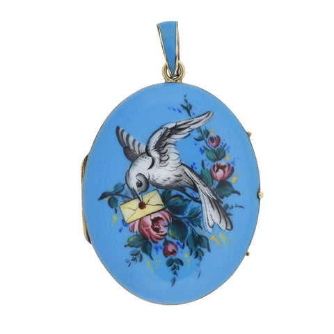 "Victorian 14kt Hand Painted Enameled ""Bird + Love Letter"" Locket"