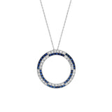 BAILEY BANKS & BIDDLE Art Deco Platinum French Cut Sapphire + Diamond Circle Pendant Necklace 18.5