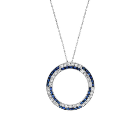 BAILEY BANKS & BIDDLE Art Deco Platinum French Cut Sapphire + Diamond Circle Pendant Necklace 18.5""