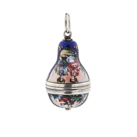 Victorian Austrian Silver Enameled Pendant with Hidden Compartment