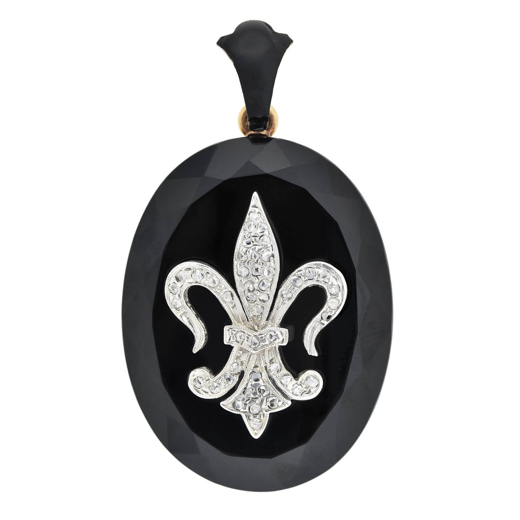 Victorian 14kt Faceted Onyx Locket with Diamond Fleur-de-Lys