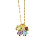 Estate 14kt Multi-Gemstone Heart Flower Pendant