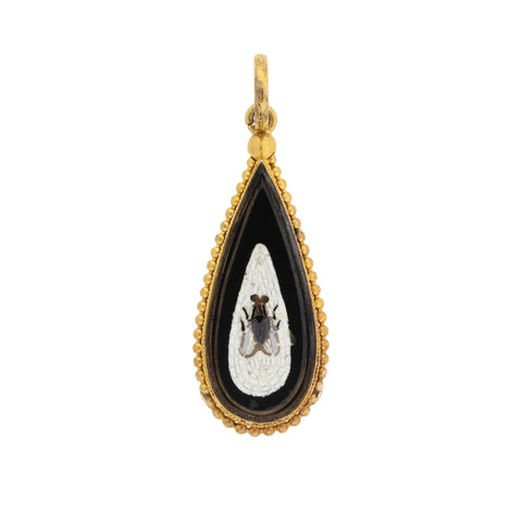 Victorian 18kt Onyx + Micro Mosaic Flying Insect Teardrop Pendant