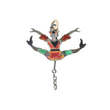 Victorian Sterling Enamel Double-Sided + Moveable Jester Puppet Charm