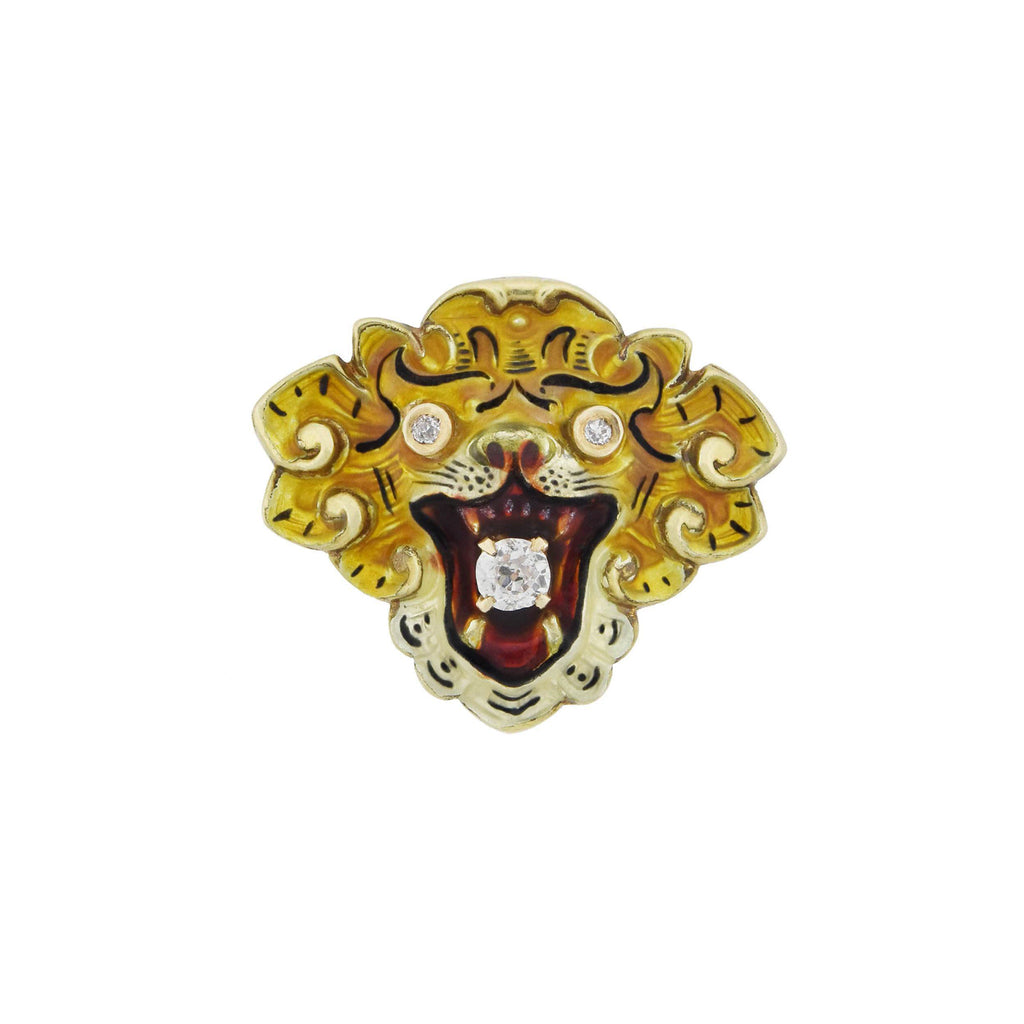 Victorian 14kt Diamond + Enameled Lion Pendant 0.25ctw