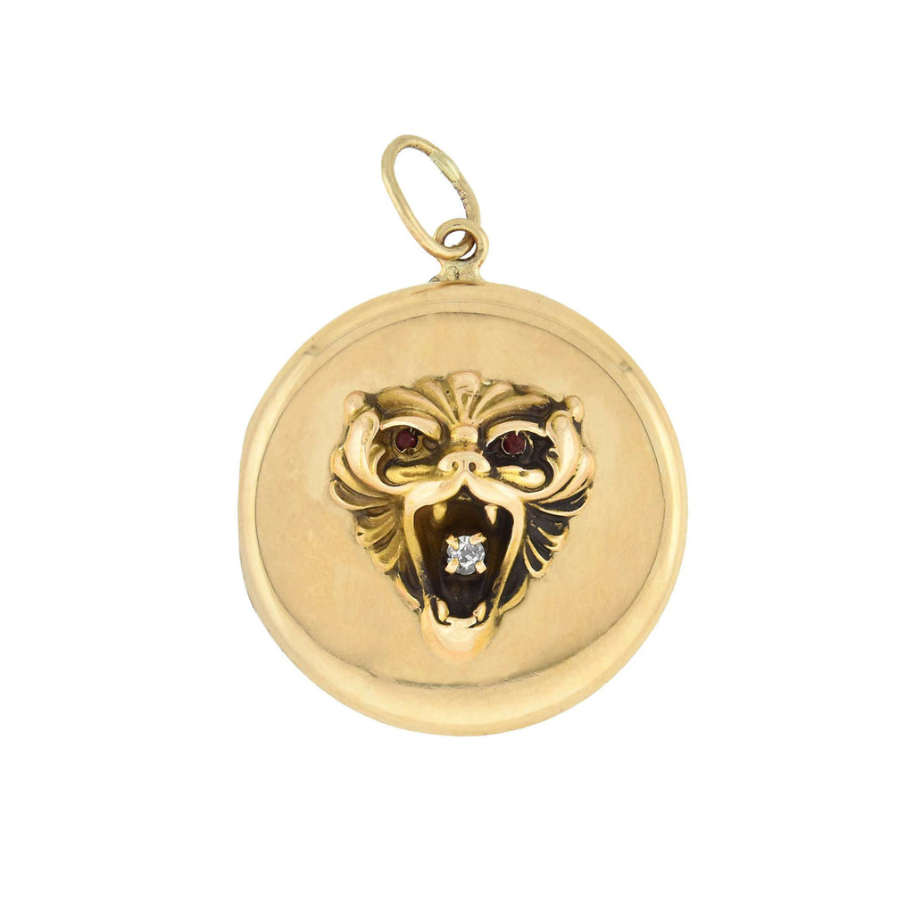 Victorian 14kt Gold Diamond + Garnet Lion