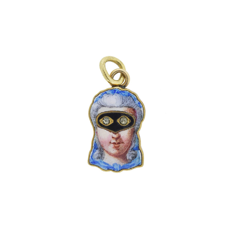 Victorian 15kt Enamel Locket w/ Raised Lady's Face Motif