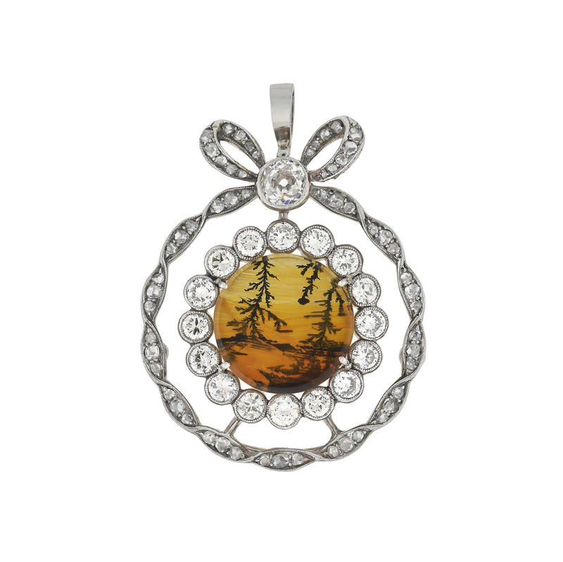 Victorian 15kt Gold Quartz + Agate Horseshoe Locket Pendant