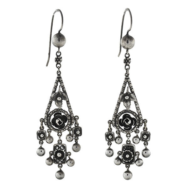 PERUZZI Retro Long Sterling Floral Motif Earrings