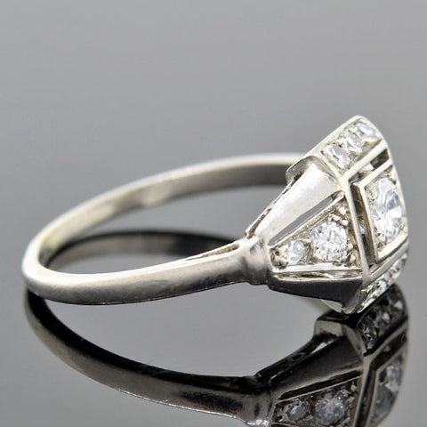 Art Deco Platinum Diamond Engagement Ring .20ct