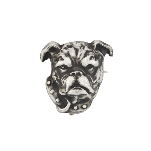 Late Victorian Silver Plated Bulldog Head Pin
