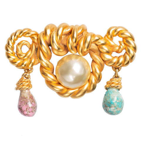 CHANEL Estate Large Twisted Cord Faux Pearl + Gripoix Glass Pin