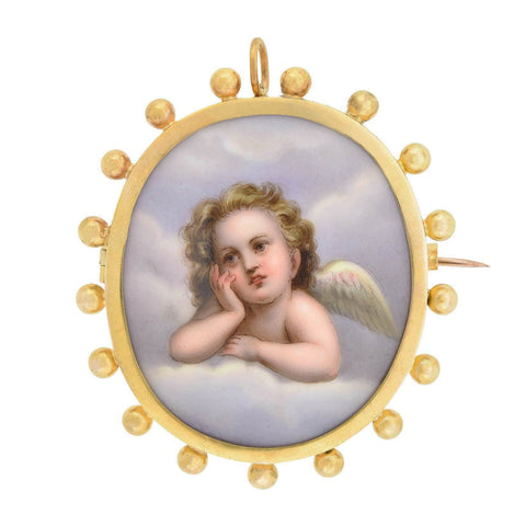 Victorian Large 18kt Hand Painted Porcelain Putti Cherub Pin/Pendant