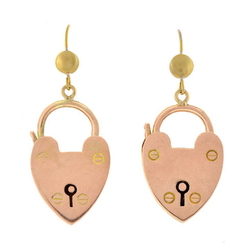 Victorian English 9kt Rose Gold Padlock Heart Earrings