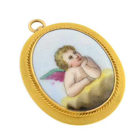 Retro 10kt Painted Porcelain Cherub Pin/Pendant