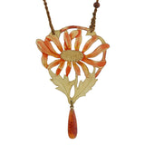 Art Nouveau Hand Carved & Painted Horn Flower Necklace
