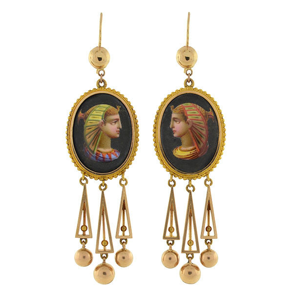 Victorian 15kt Painted Egyptian Nekhbet Queen Earrings
