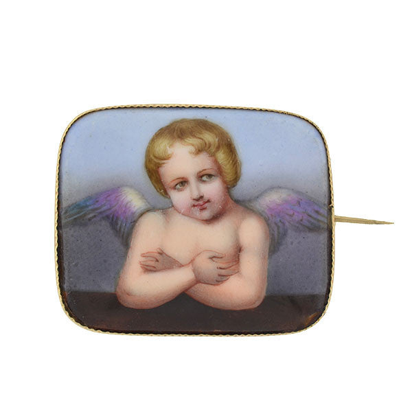 Victorian 14kt Painted Porcelain Cherub Pin