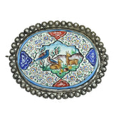 Late Victorian Middle Eastern Silver Painted Porcelain Pin
