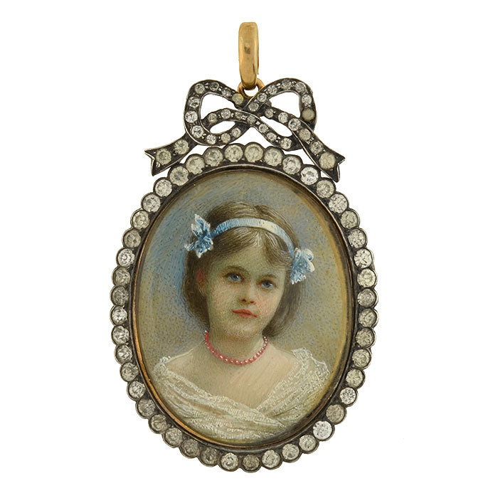 Victorian 14kt/Sterling French Paste & Painted Ivory Portrait Locket