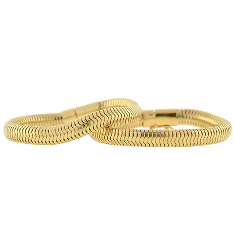 Retro 14kt Gold Flexible Snake Chain Bracelet Set