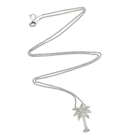 Estate 14kt Diamond Palm Tree Pendant Necklace