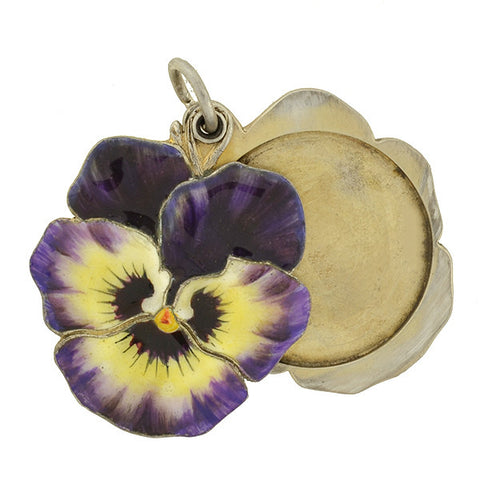 Art Nouveau Silver Enamel Pansy Flower Slide Locket
