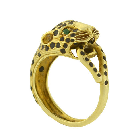 Cartier Style Vintage 14kt Emerald Enameled Panther Ring