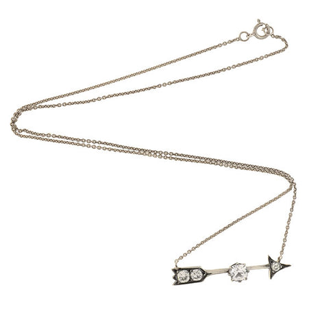 Victorian Sterling Silver+  French Paste Arrow Necklace