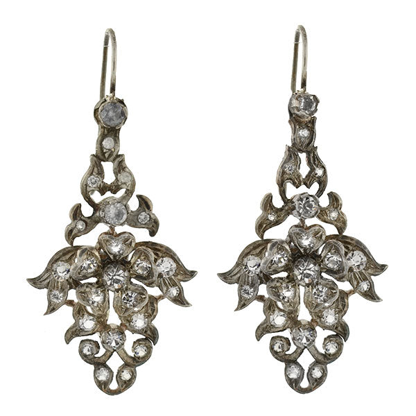 Late Victorian Silver Gilt & French Paste Floral Filigree Earrings